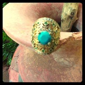 Turquoise/Emerald/ehite Sapphire Ring